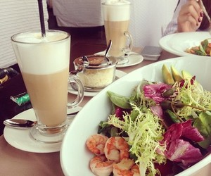 food, salad, and coffee image