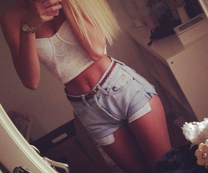 girl, shorts, and blonde image