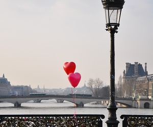 love, paris, and balloons image