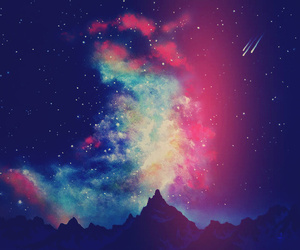 galaxy and mountains image