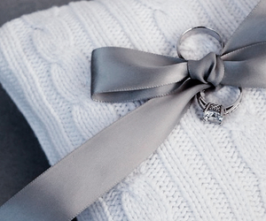 bow, ring, and wedding image