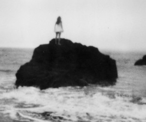 girl, sea, and rock image
