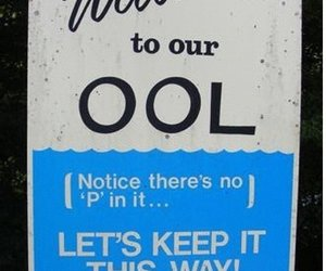 pool, funny, and sign image