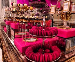 cake, macarons, and pink image