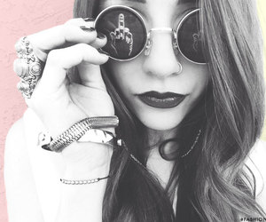 brunette, dark lips, and edgy image