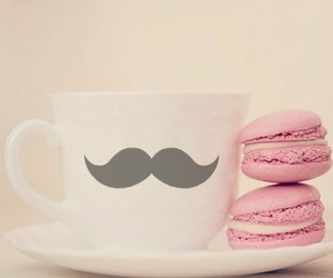 cup, mustache, and macaroon image