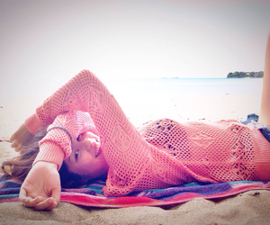 beach, knitwear, and coral image