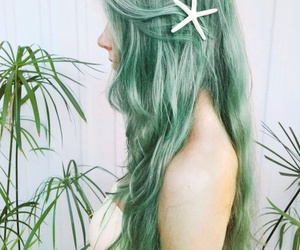 blue hair, green, and mermaid image