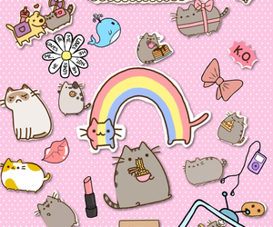 rainbow, stickers, and pusheen the cat image
