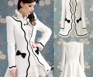 white, dress, and black image