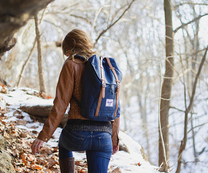nature, backpack, and cold image