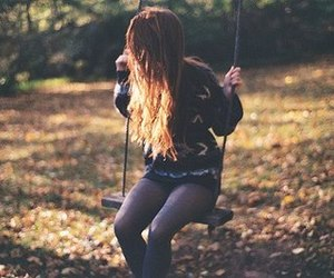 girl, hair, and swing image