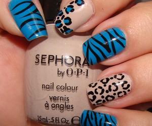 nails, animal print, and style image