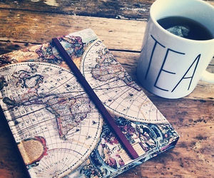 book, map, and tea image