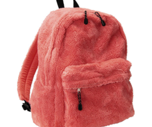 backpack, pink, and plush image