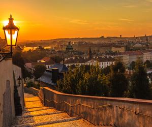 sunset, city, and prague image