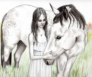 girl, hanna, and horse image