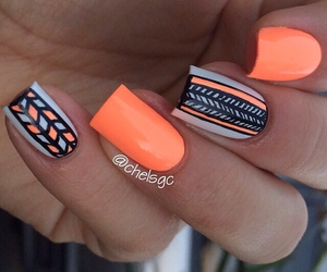 nails, orange, and pretty image