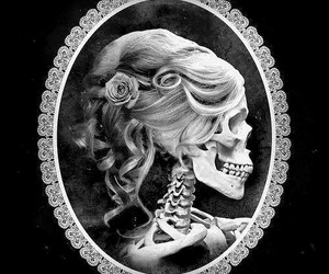 skull, woman, and black and white image