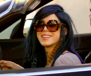 hair, sunglasses, and blue hair image