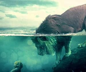 lion, water, and mermaid image