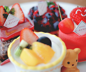 cake, fruit, and kawaii image