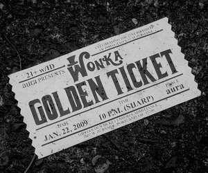 black and white, wonka, and golden ticket image