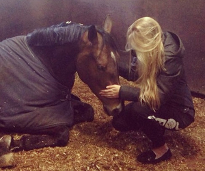 horse, blonde, and cuddling image