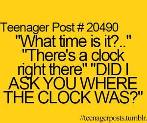 teenager post, clock, and funny image