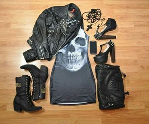 skull, dress, and outfit image