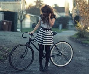 girl, bike, and hair image