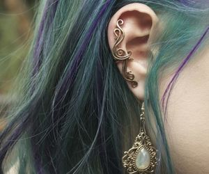 hair, earrings, and piercing image