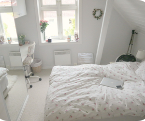bed, room, and summer image