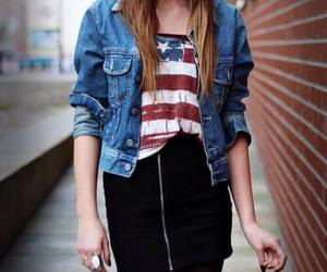 black, blouse, and american flag image