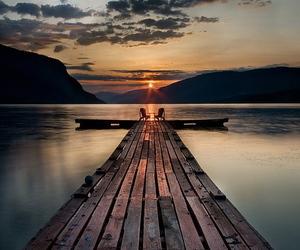sunset, lake, and nature image
