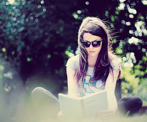 book, brunette, and girl image