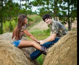 countryside, hay, and couple image