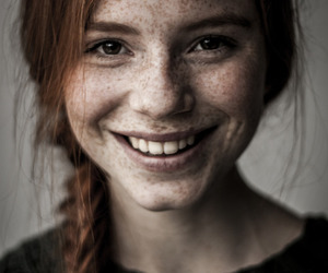 girl, freckles, and smile image