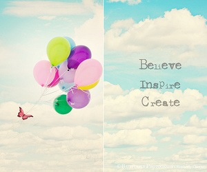 balloons, believe, and butterfly image