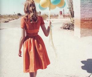 girl, balloons, and vintage image