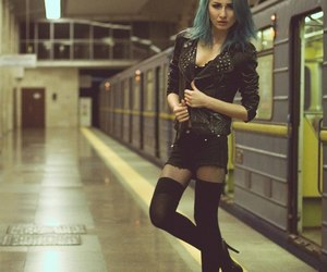 blue hair, fashion, and grunge image