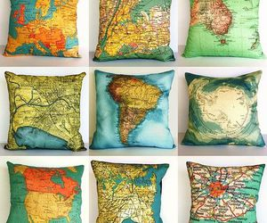 pillow, world, and map image