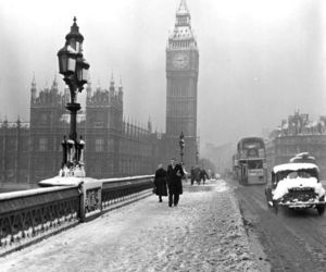 london, snow, and vintage image