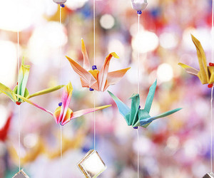 origami, colorful, and cranes image