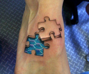 tattoo, puzzle, and feet image