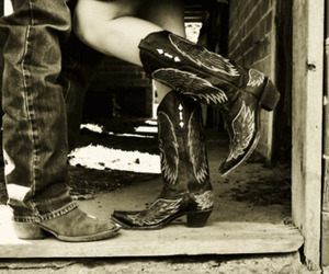 black&white, boots, and couple image