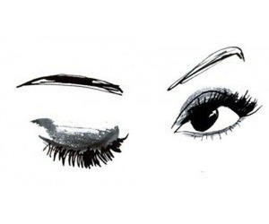 eyes, drawing, and wink image