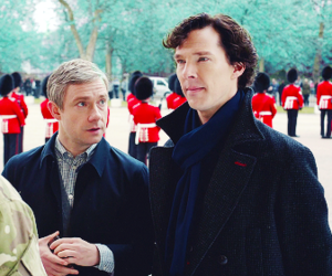 Martin Freeman, sherlock, and benedict cumberbatch image