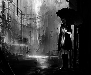 b&w and lonely image