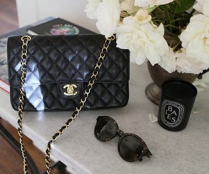 bag, chanel, and flowers image